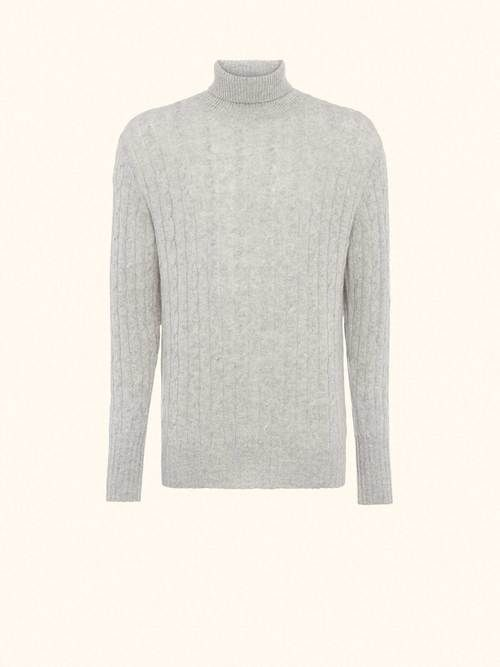 85f9a69094de06 CABLE ROLL NECK SWEATER (AS SEEN IN SPECTRE) in Fumo Grey - N.Peal, London