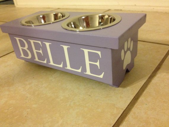 Medium Personalized Raised Bowl Stand for small dog or large cat with two 1 pint…