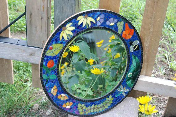 Mirror 18 Round Mosaic Flower Garden by NatureUnderGlass on Etsy