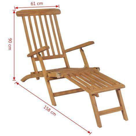 Chaise De Terrasse Avec Repose Pied Bois De Teck Solide 43800 En 2020 Bois De Teck Chaise Terrasse Meubles En Teck