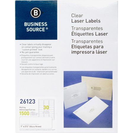 Business Source, BSN26123, Clear Laser Print Mailing Labels