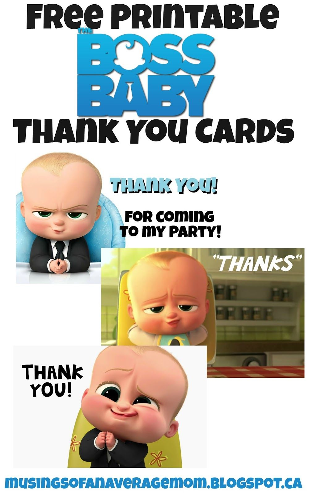 Boss Baby Thank You Cards  Free Printable Babies And Baby Party