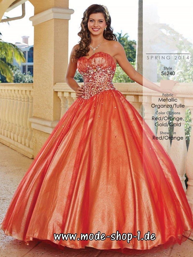 Orangenes A Linie Prinzessin Abendkleid Ballkleid Online #kleider