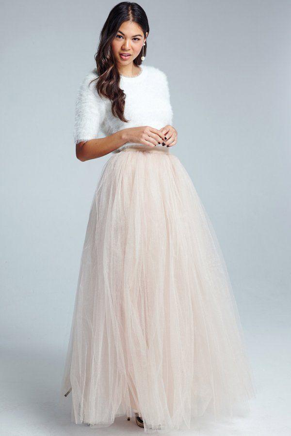 Little Mistress Cream Tulle Maxi Skirt   Products I Love   Pinterest ...