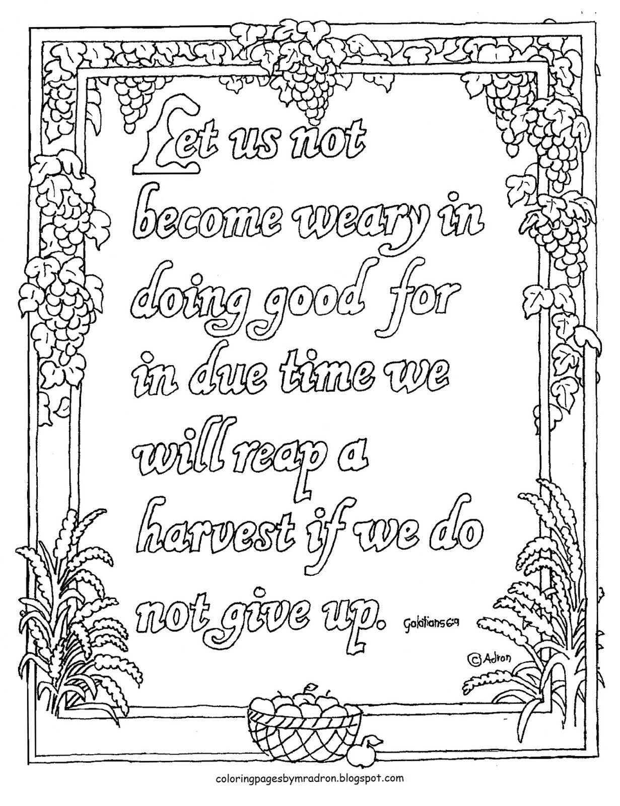 Coloring Pages for Kids by Mr. Adron: Free Printable Galatians 6:9 ...