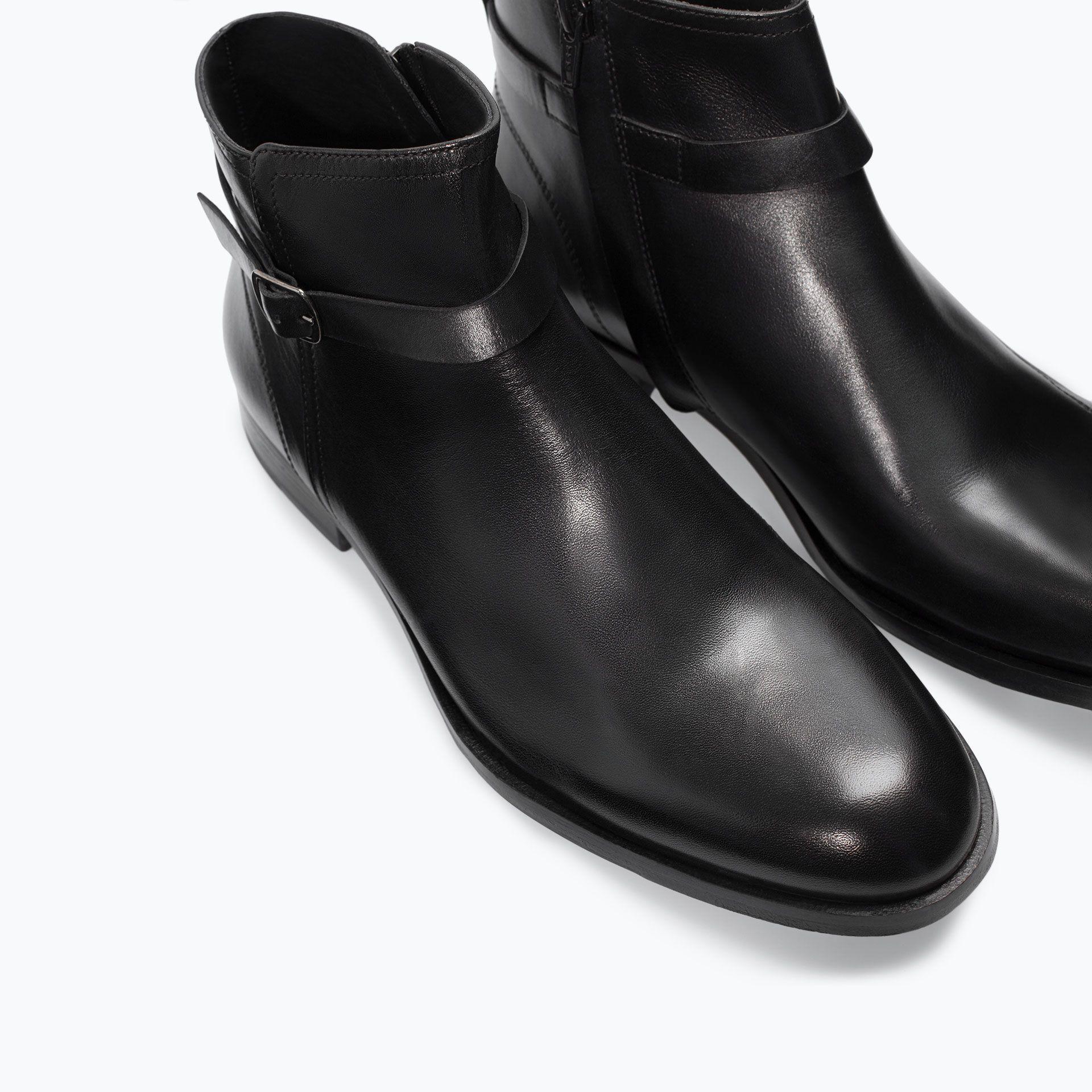 Leather Ankle Boot With Buckle Shoes Man Shoes Bags Zara Jordan 99 00 Jod Boots Dress Shoes Men Mens Shoes Boots