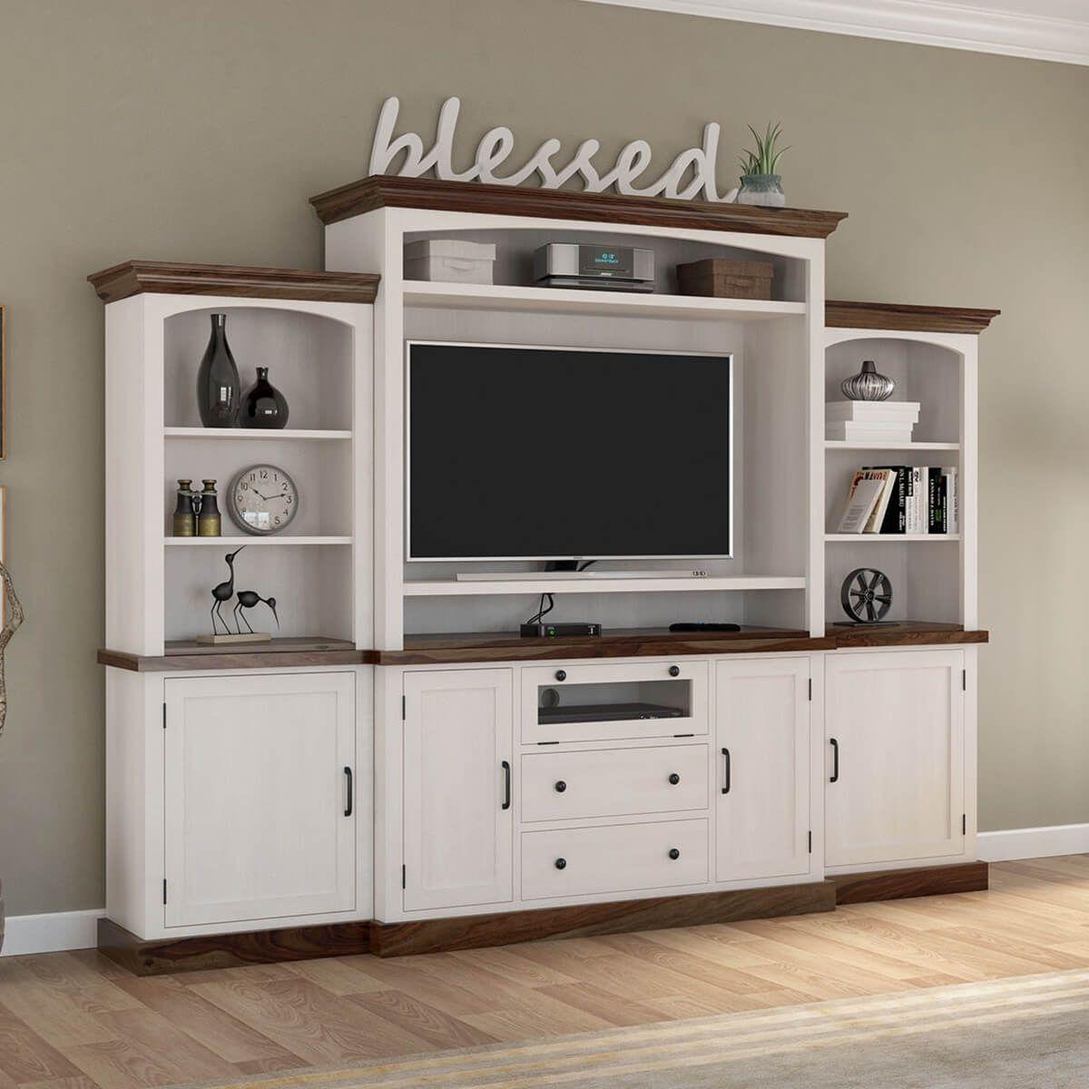 Morven Two Tone Solid Wood Entertainment Center With Bookshelves In 2020 Wood Entertainment Center Living Room Entertainment Center
