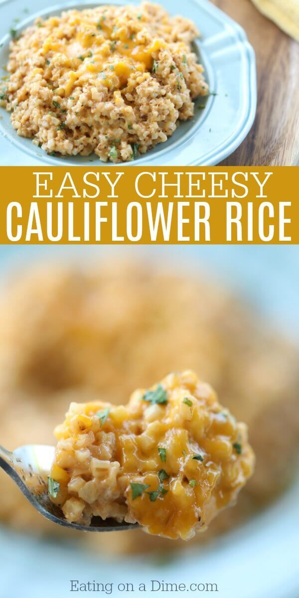 Looking for an easy keto side dish? You're going to love Easy Cheesy Cauliflower Rice. With just a few ingredients you can have Keto Cheesy Cauliflower. #ketorecipes