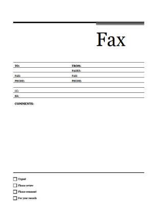 free template for fax cover sheet
