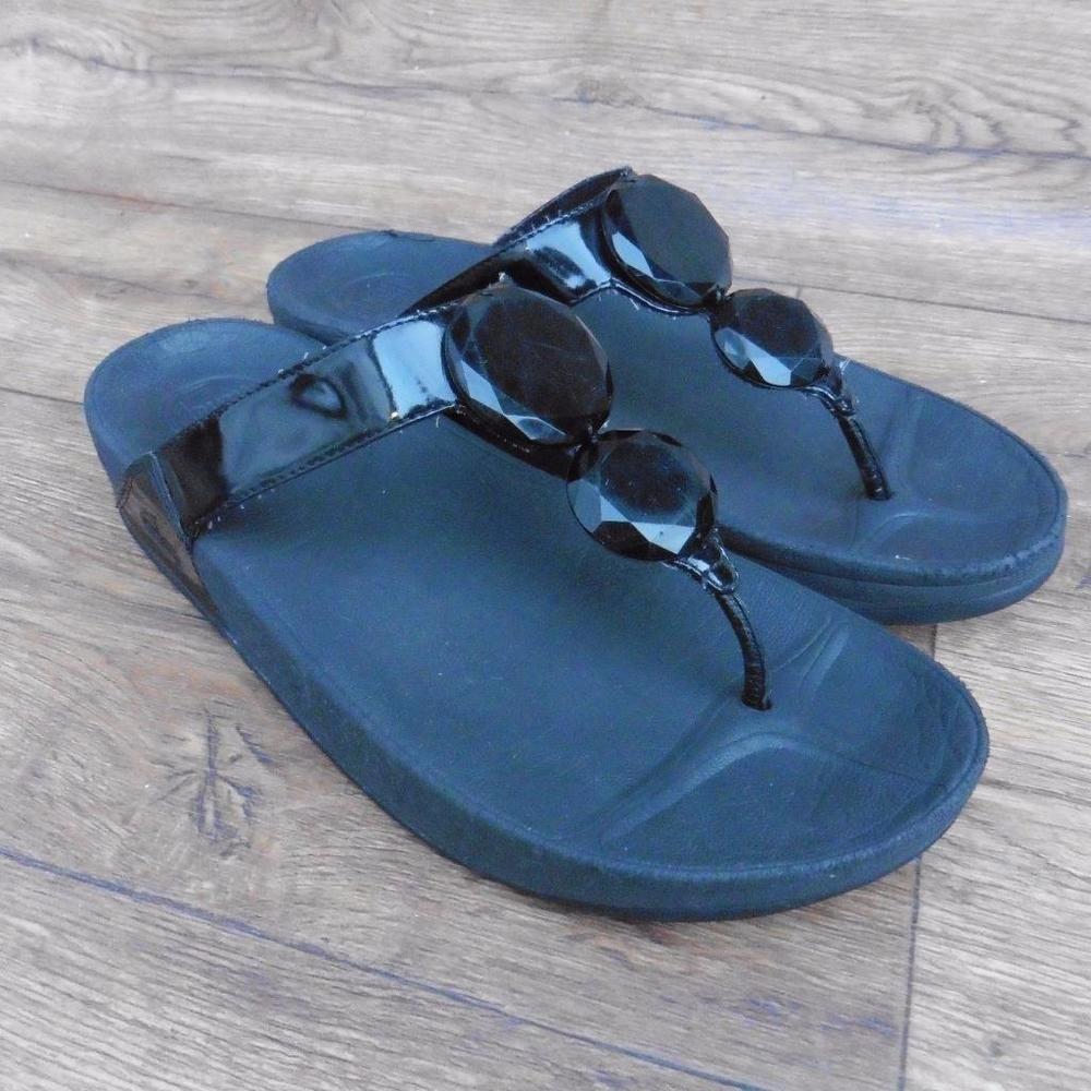 04145d6fbaff2e SIZE UK 7 FITFLOP LUNA BLACK PATENT LEATHER TOE POST SANDALS BEACH SHOES