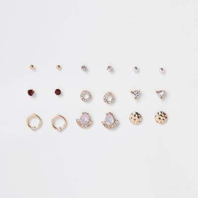 River Island Gold Tone Opal Diamante Stud Earrings Pack