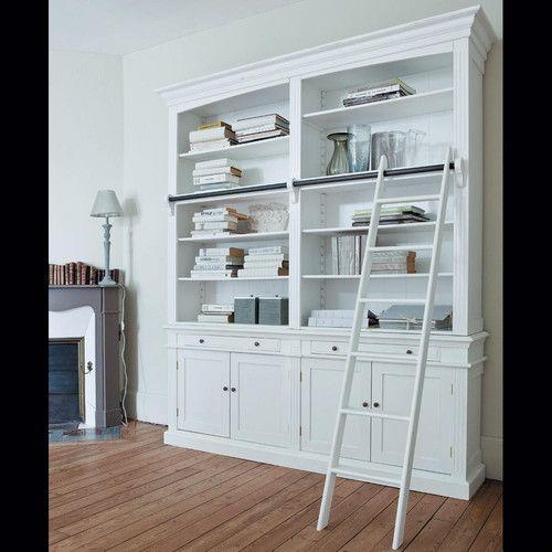Librer a blanca con 2 cajones 4 puertas y escalera en - Librerias salon blancas ...