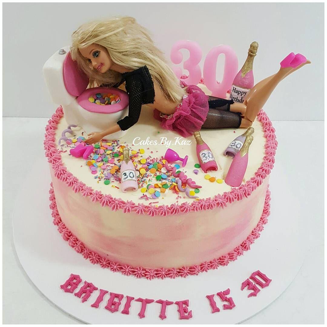 Poor Barbie This Was A Fun Cake To Make Drunk Barbie Cakeskaz
