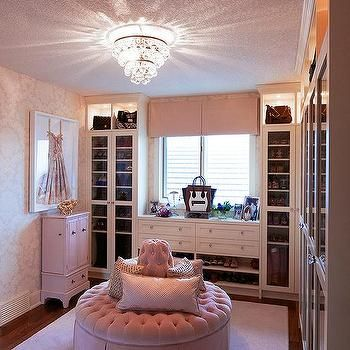 Excellent Pink Walk In Closet With Round Pink Velvet Tufted Ottoman In Alphanode Cool Chair Designs And Ideas Alphanodeonline