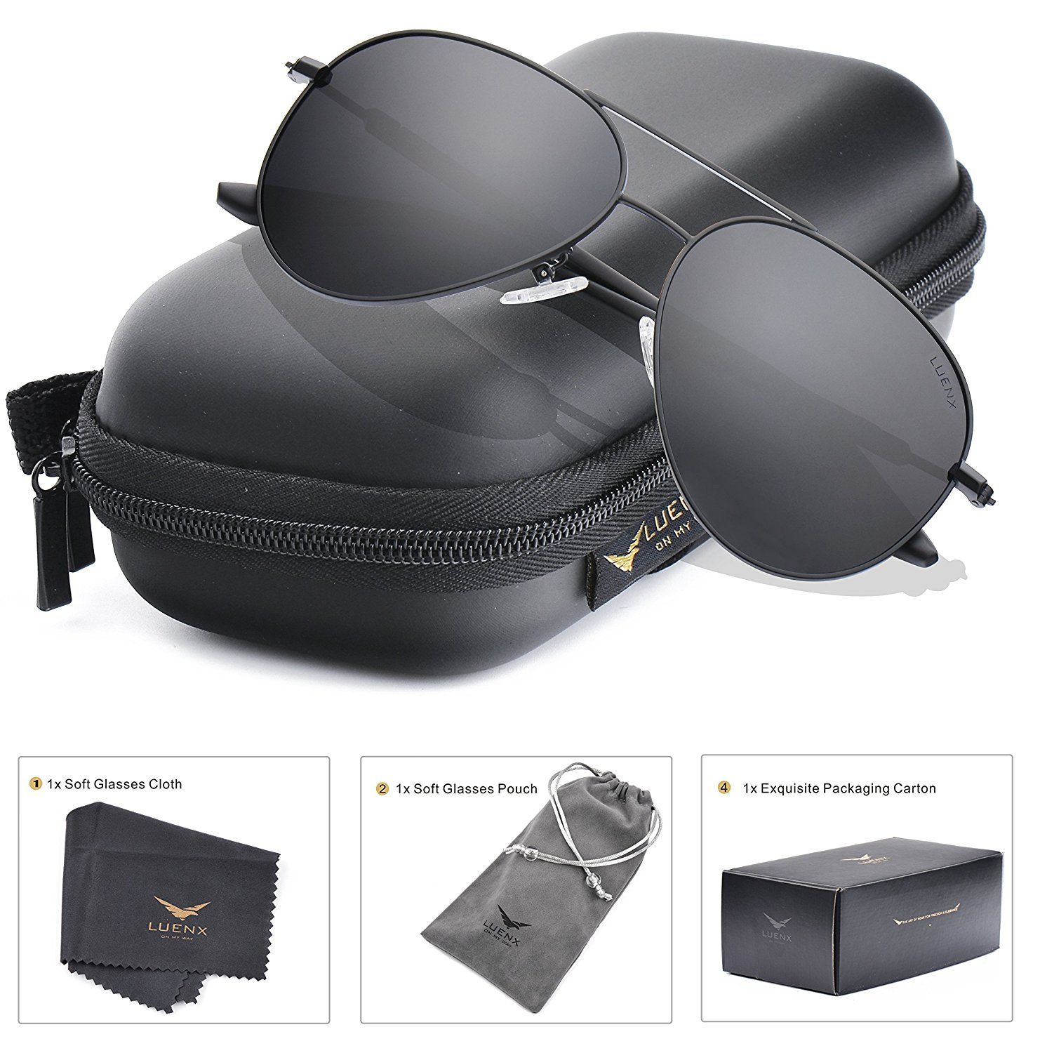 4295c3a3b347 LUENX Aviator Sunglasses Polarized for Men Women with Sun Glasses Case -  ... New  LUENX