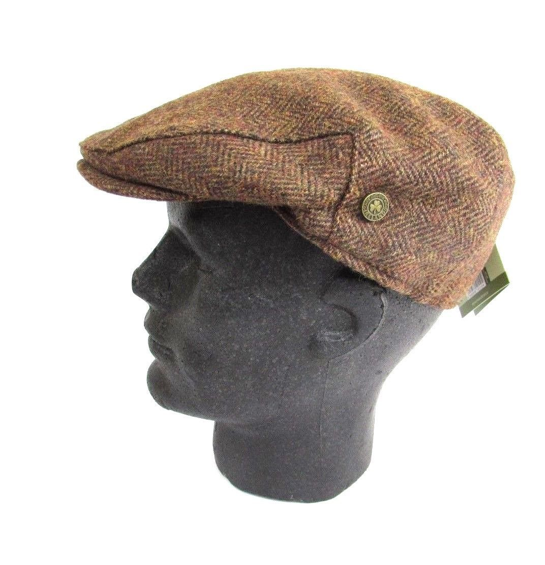 205424722 Irish Brown Aran Herringbone Wool Tweed Flat Cap Hat-Shamrock Pin ...
