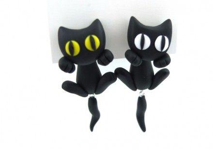 """Boucles d'oreilles """"Mini Chaton"""" . Œuvre de Bobey-creations"""