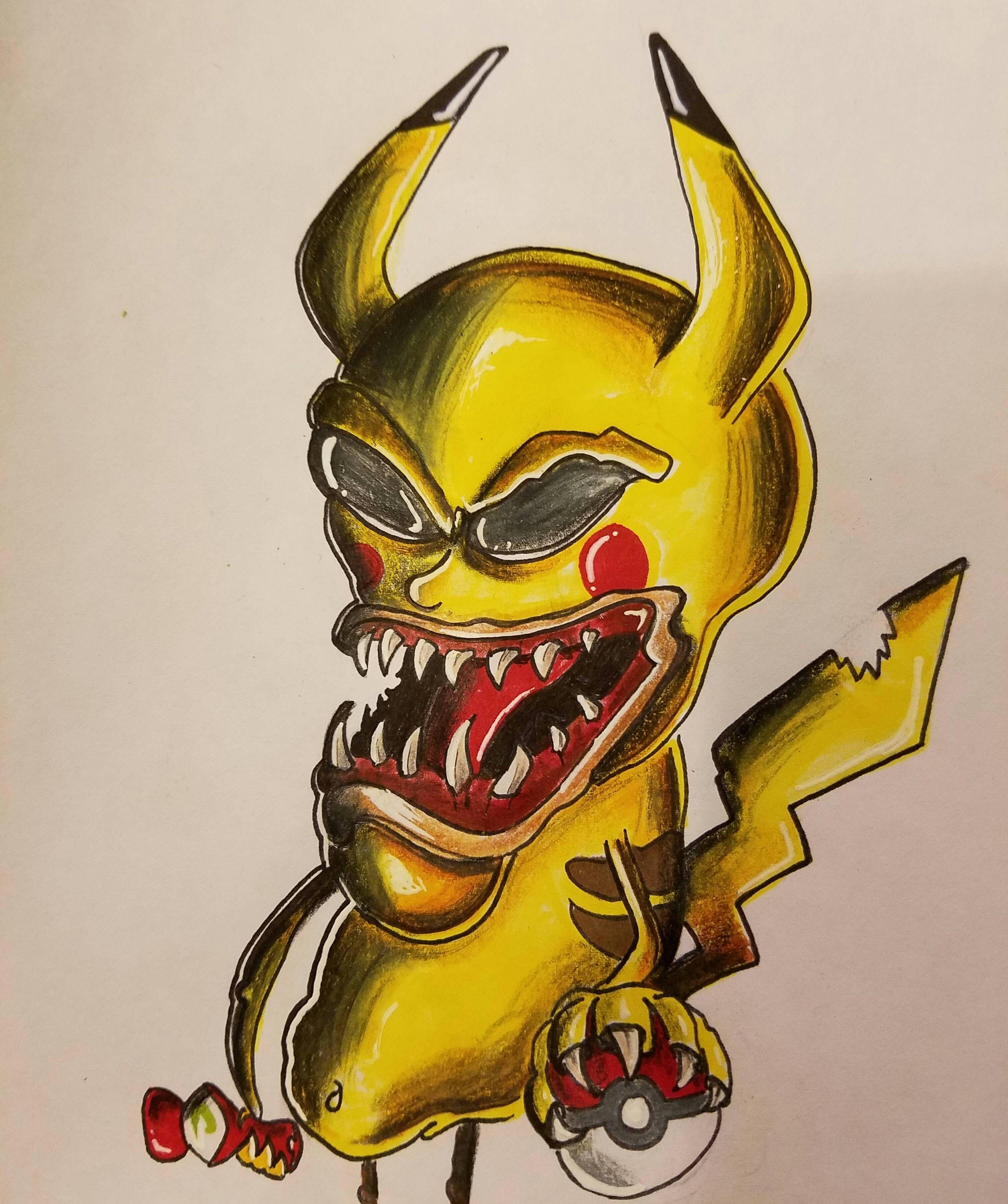 Evil pikachu drawing