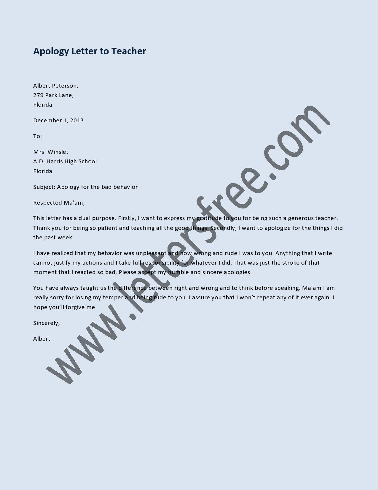 Sample apology letter to send to teachers help express the right – Sample Apology Letter to Teacher