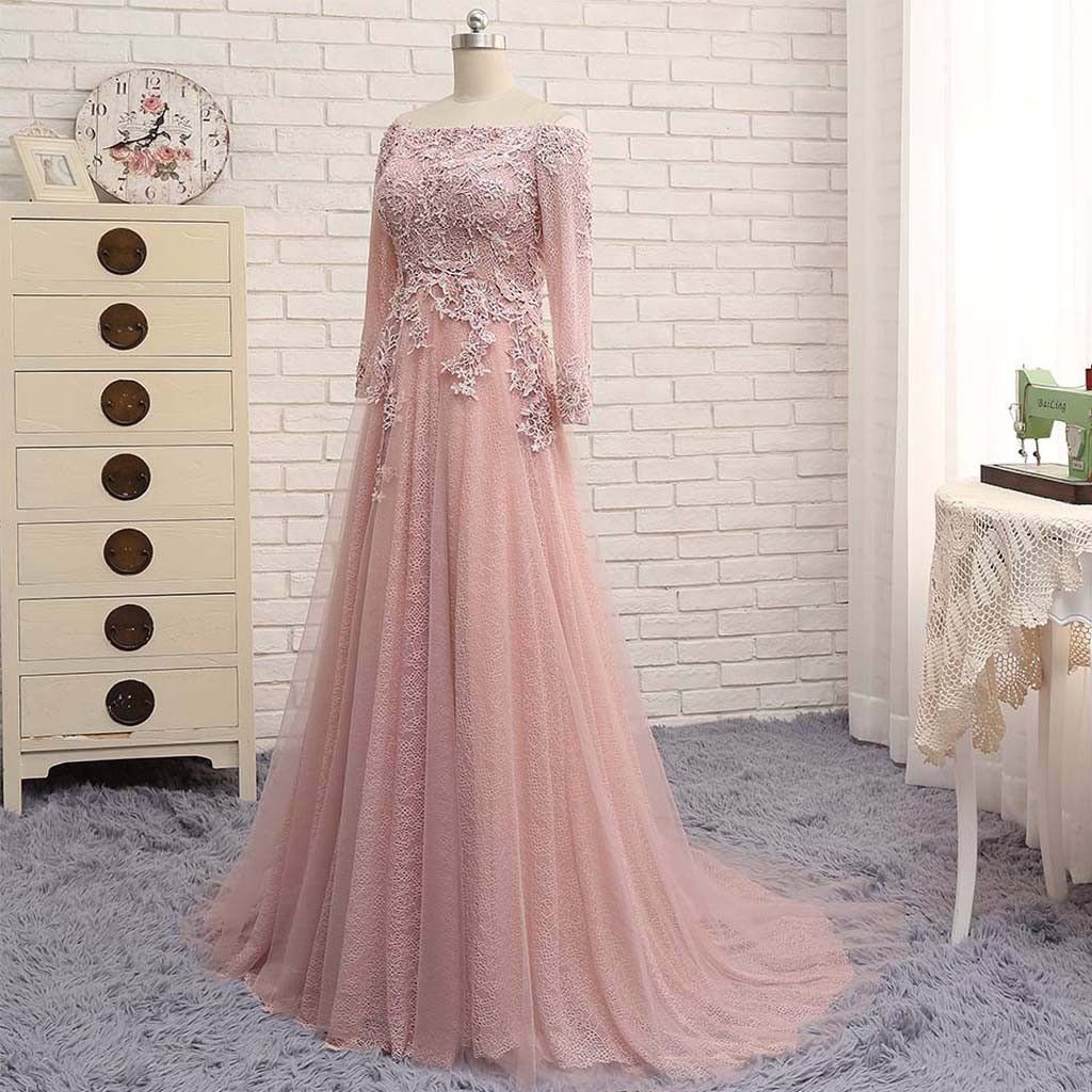 2017 Off Shoulder Long Sleeve Lace Beaded Long A-line Open Back Prom ...