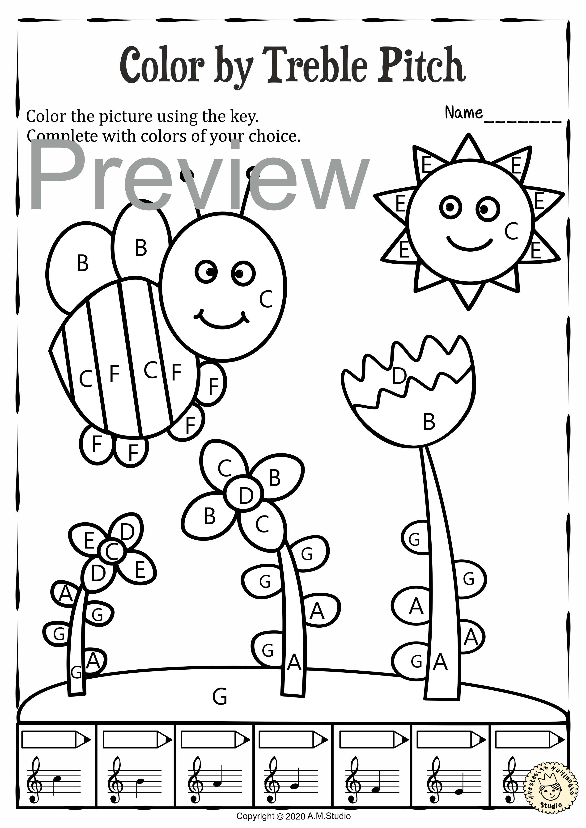 Musical Coloring Pages For Spring Color By Treble Pitch