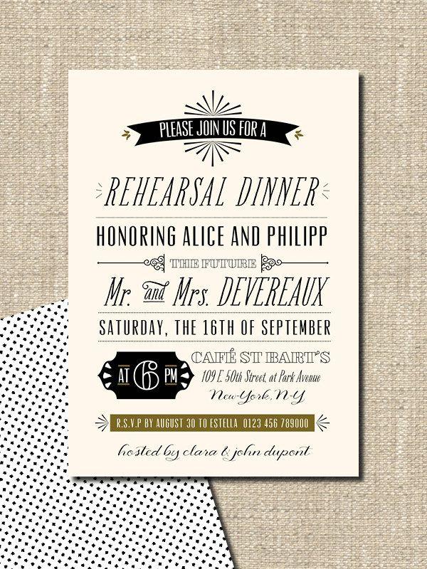 wedding rehearsal dinner invitation DIY printable. $18.00, via Etsy.