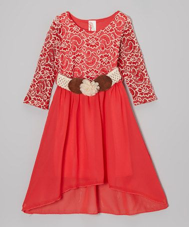 Another great find on #zulily! Coral & White Lace Belted Hi-Low Dress - Toddler & Girls by Just Kids #zulilyfinds