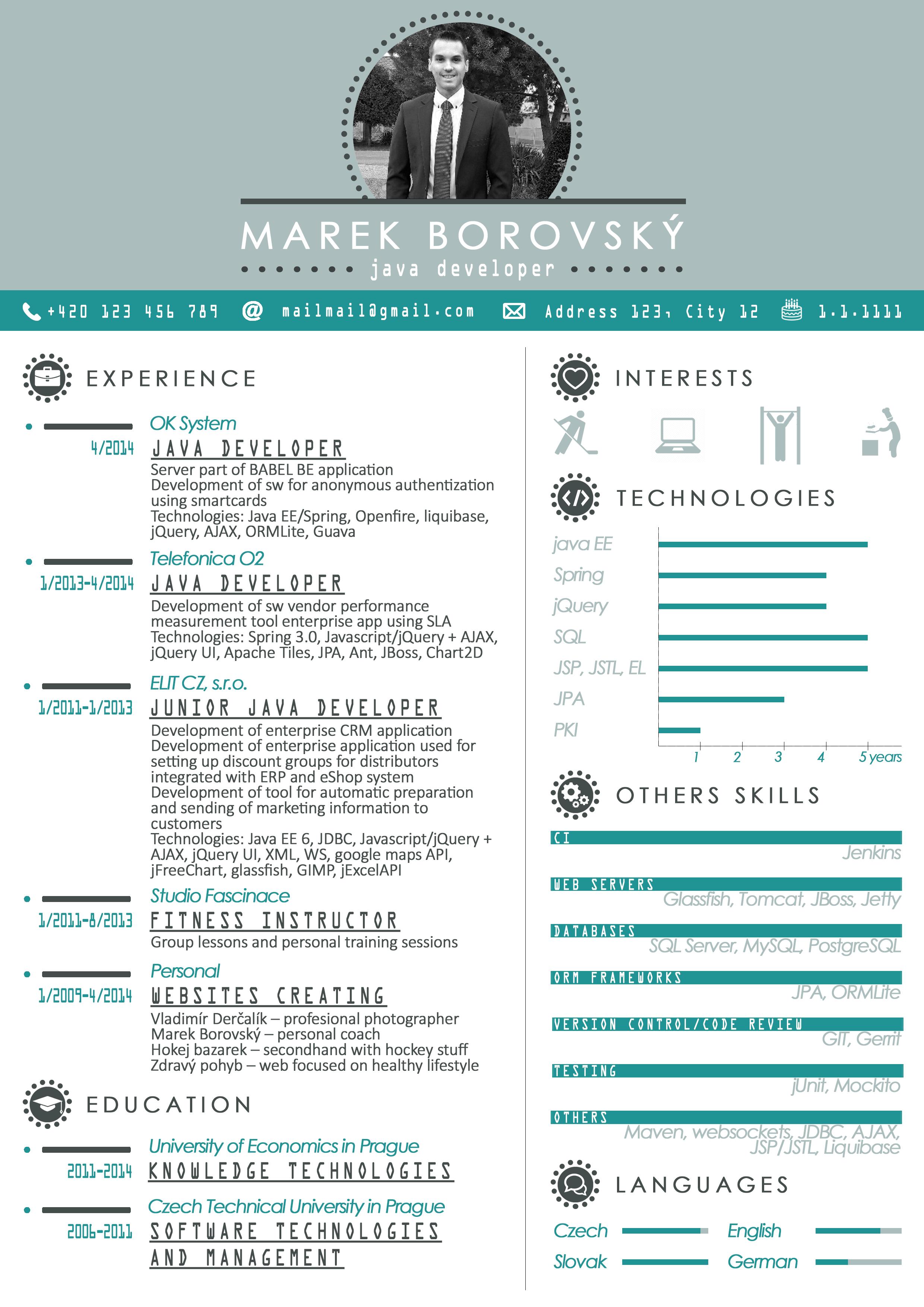 resume cv template graphics javadeveloper developer java blue - Ce Resume