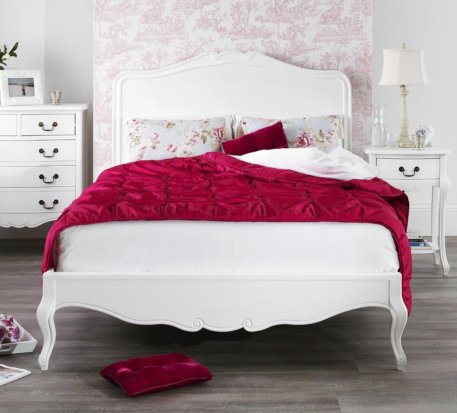 juliette lit 2 personnes style shabby chic avec t te de. Black Bedroom Furniture Sets. Home Design Ideas
