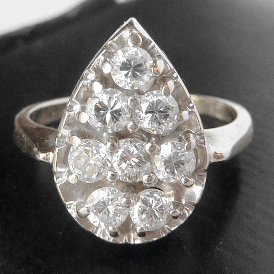 Big Blazing Vintage 14k White Gold 75 Ct Diamond Pear Cluster Engagement  Ring