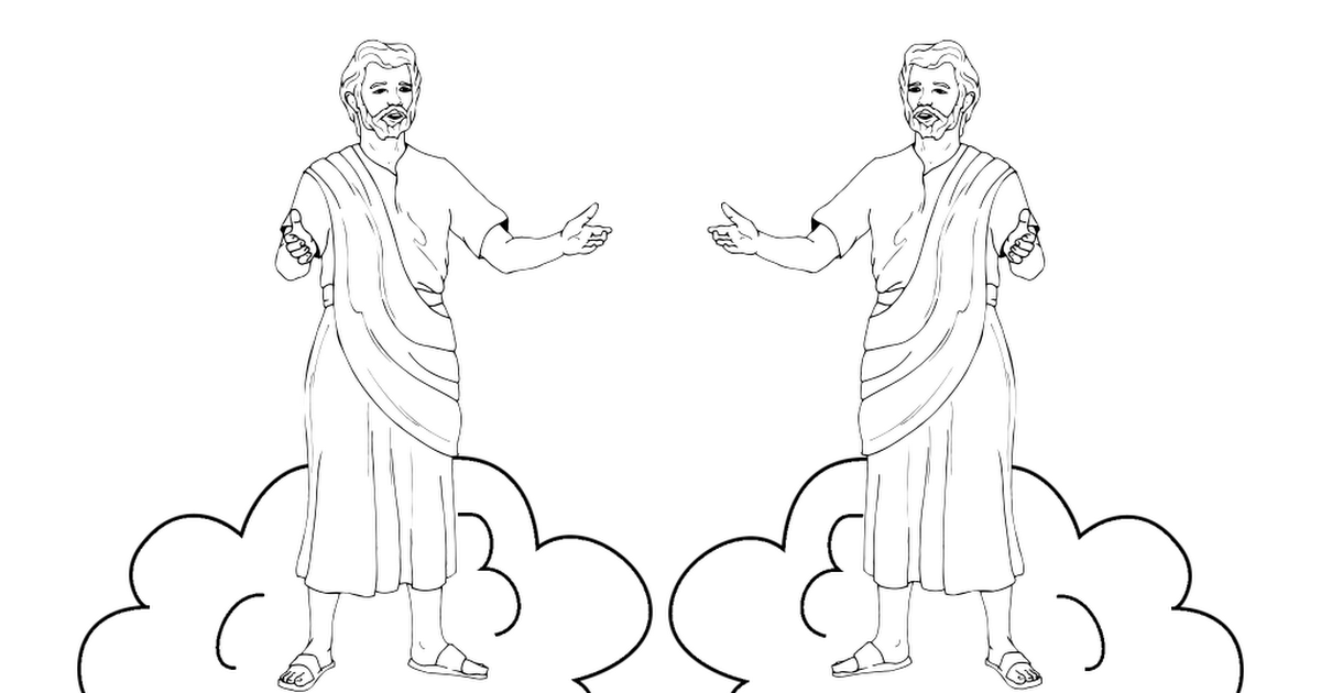 Jesus rising into heaven craft for cup bw.pdf Jesus