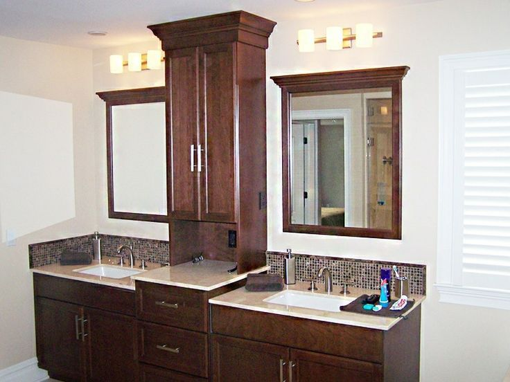 Good bathroom vanities with towers double vanity with for Master bathroom double vanity
