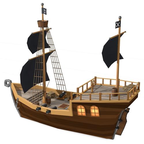 Low Poly Pirate Ship 3d Model Pirate Ships Diy Pirate Ship Model Ship Craft
