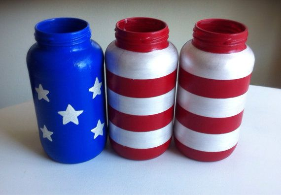 Red, White and Blue Mason Jars - American Flag/Vases for Memorial Day and July 4th on Etsy, $20.00