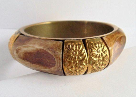 a681a7bae7f9 Vintage Faux Elephant Bone Bronze Color Metal Large Bangle Bracelet ...