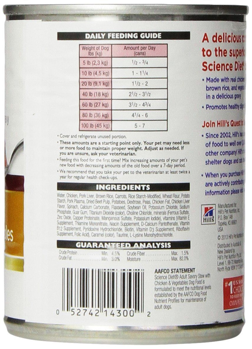 Hills Science Diet Adult Wet Dog Food Savory Stew with