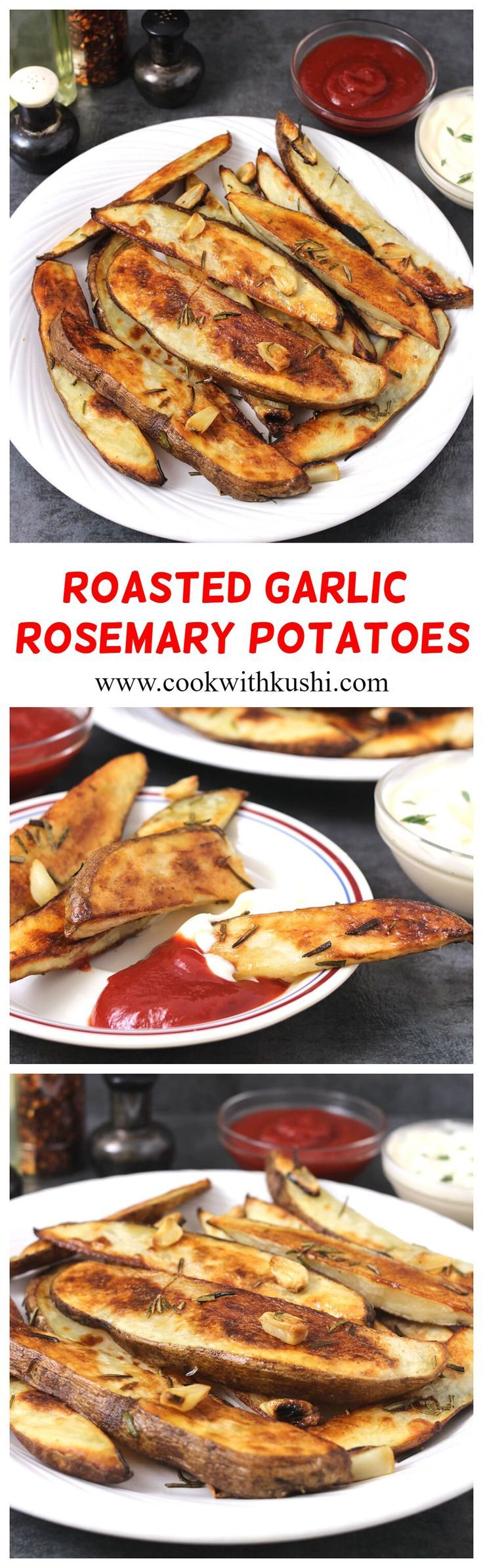 OVEN ROASTED ROSEMARY GARLIC POTATOES - Cook with Kushi