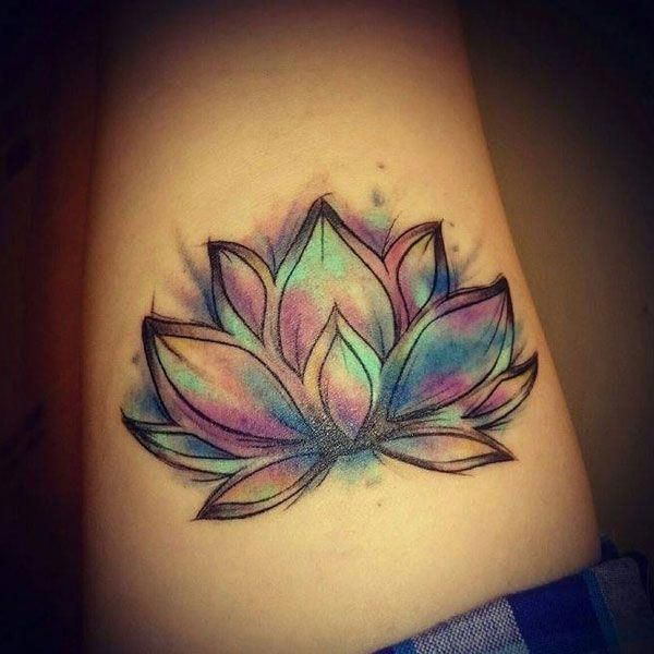 Beautiful Watercolor Lotus Flower Tattoo Cute Colored Black And White Large And Small Lotus Tatt Lotus Flower Tattoo Design Flower Tattoo Designs Tattoos