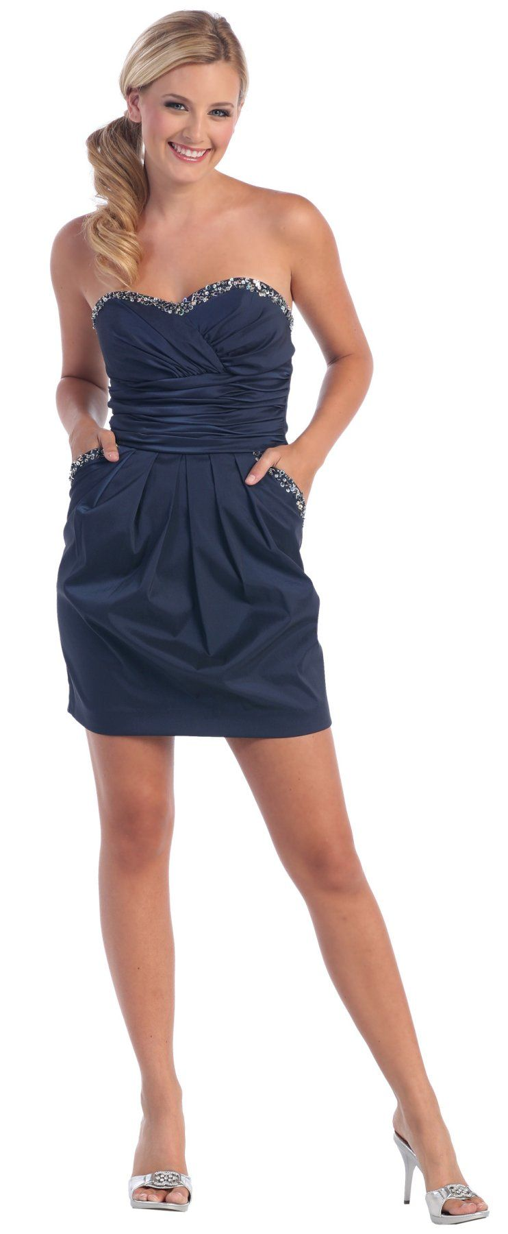 Strapless Empire Navy Blue Cocktail Dress Short Pockets Pleated (3 ...