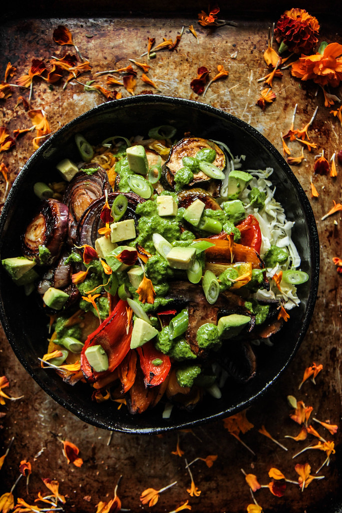 Roasted Veggie Rice Bowl with Black Beans and Cilantro Sauce - Heather Christo