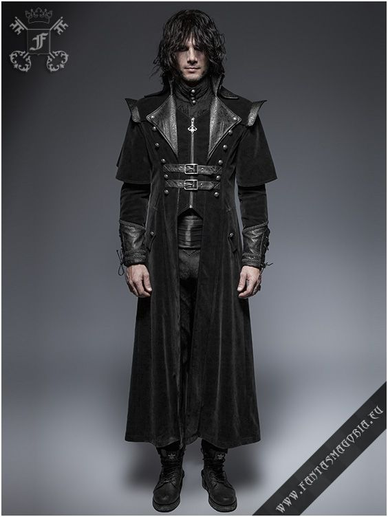 92e9b1241689d0 Gothic Fantasy style elaborate design winter coat made of velvety suede  fabric and brocade embossed synthetic