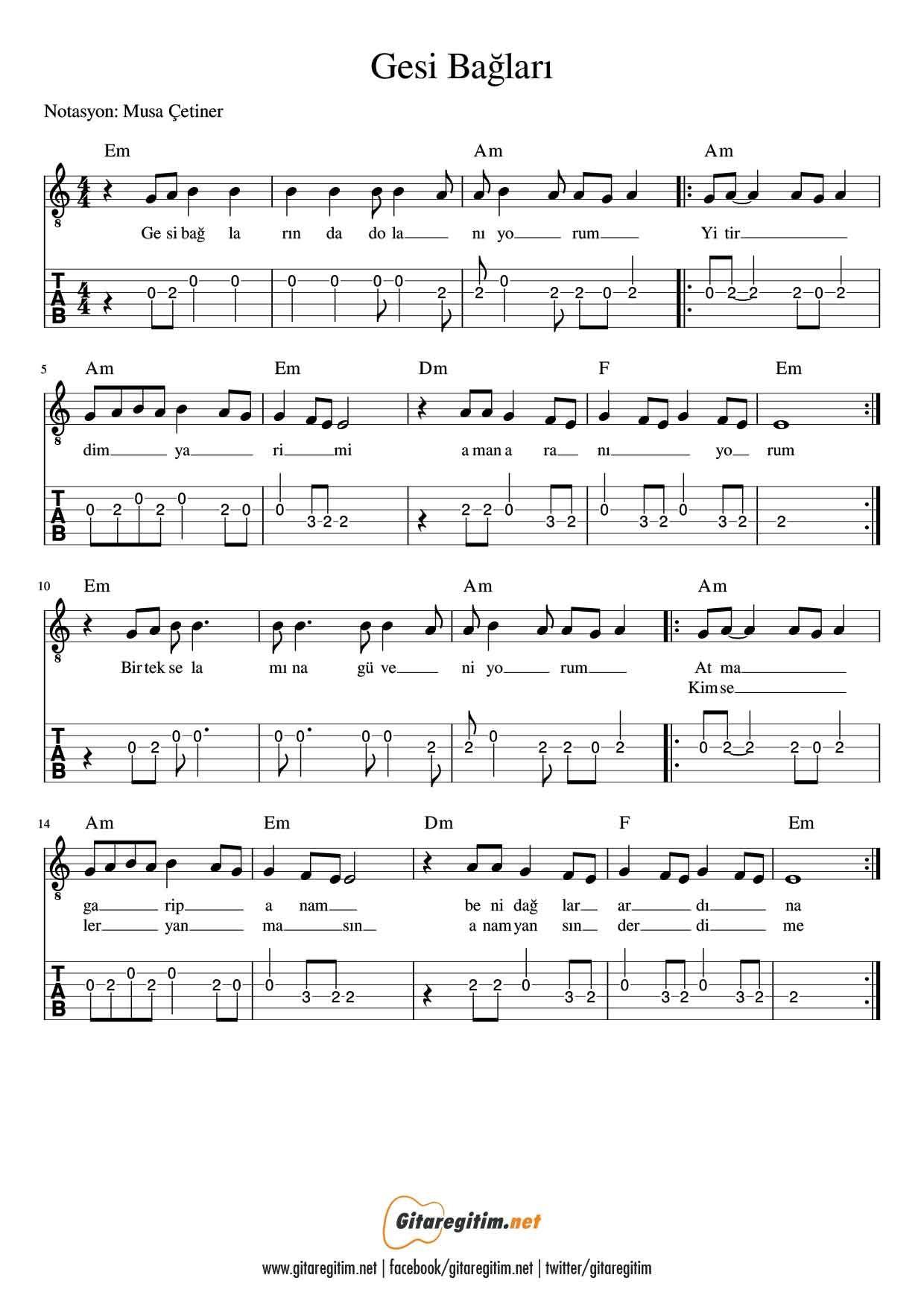 Gesi Baglari Gitar Nota Tab Gitaregitim Net Gitar Flut Notalara Dokulmus Muzik