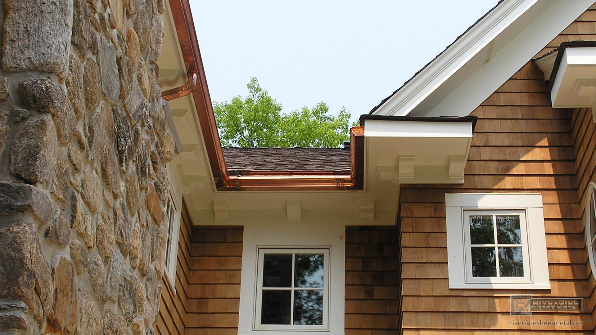 K Style Copper Gutter And Downspouts Installed Riverside Ma Gutters Diy Gutters Downspout