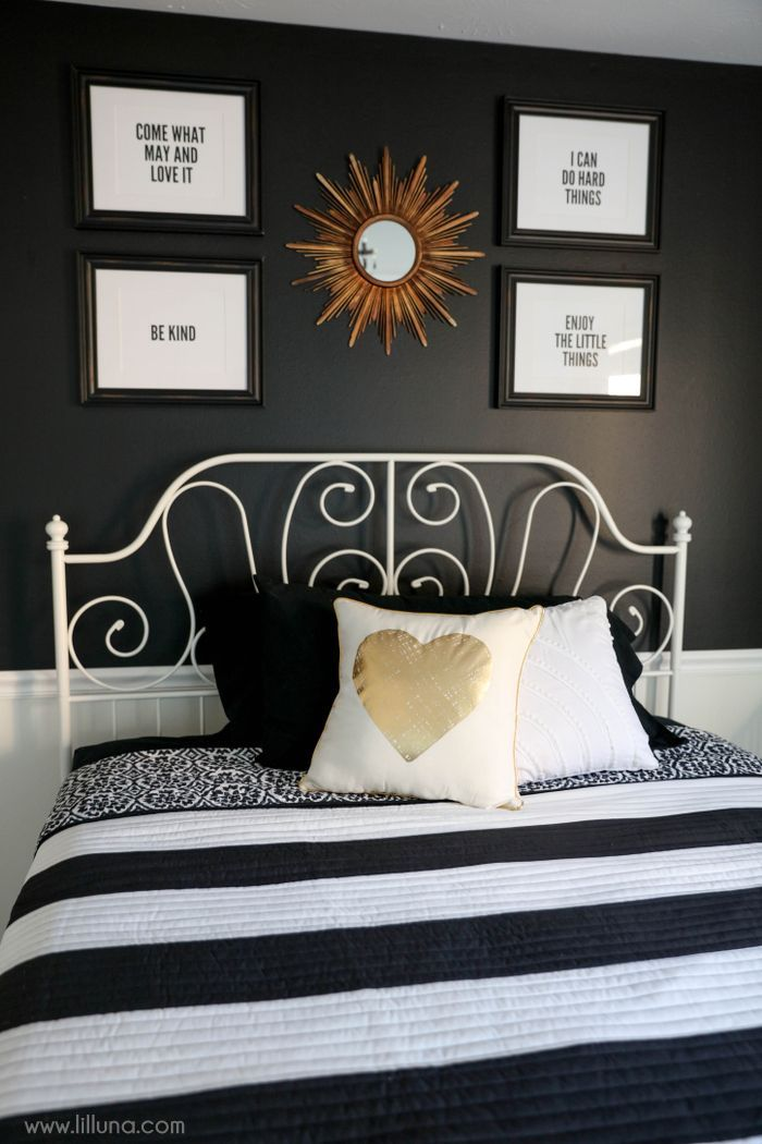 Stark Strokes Black And White Bedroom Designalls In 2020 White Bedroom Decor White Room Decor Gold Room Decor