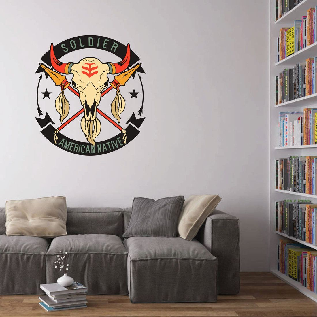 cik439 Full Color Wall decal American culture symbol skull bison buffalo living