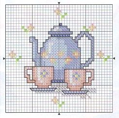 cross stitch chart- cross stitch, tea set, tiny.... what could be better?