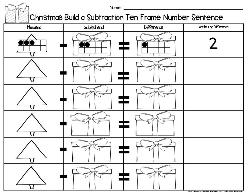 Christmas 2 Addend Addition Amp Subtraction With Ten Frames