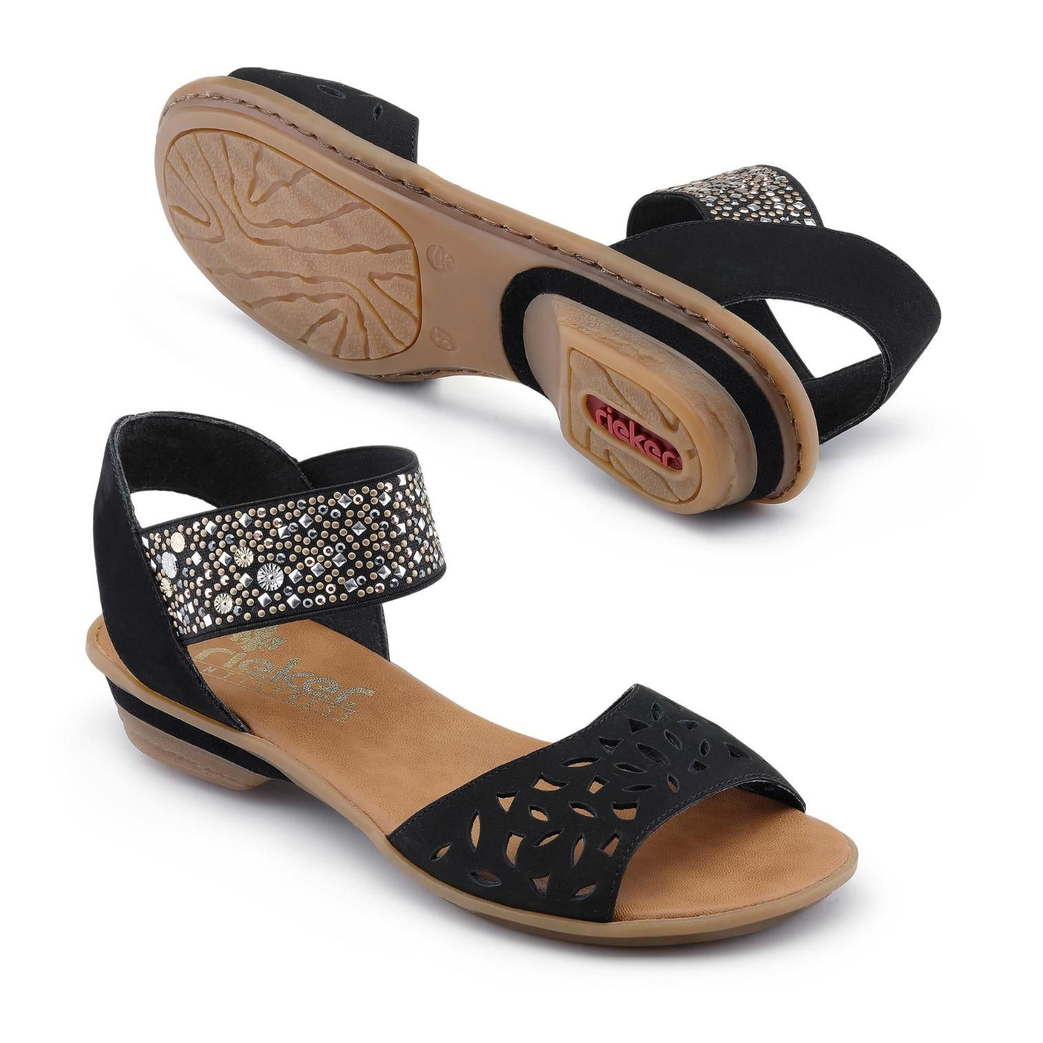 Damen Schwarz Billig Rieker Sandale Sandalen Shoes Sandals Shoe Bag