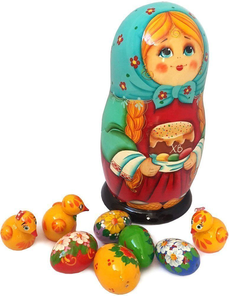Unique easter gifts wooden nesting doll with baby chicken and unique easter gifts wooden nesting doll with baby chicken and eggs figurine toys handmade russian matryoshka dolls set of 9 pcs tall negle Images
