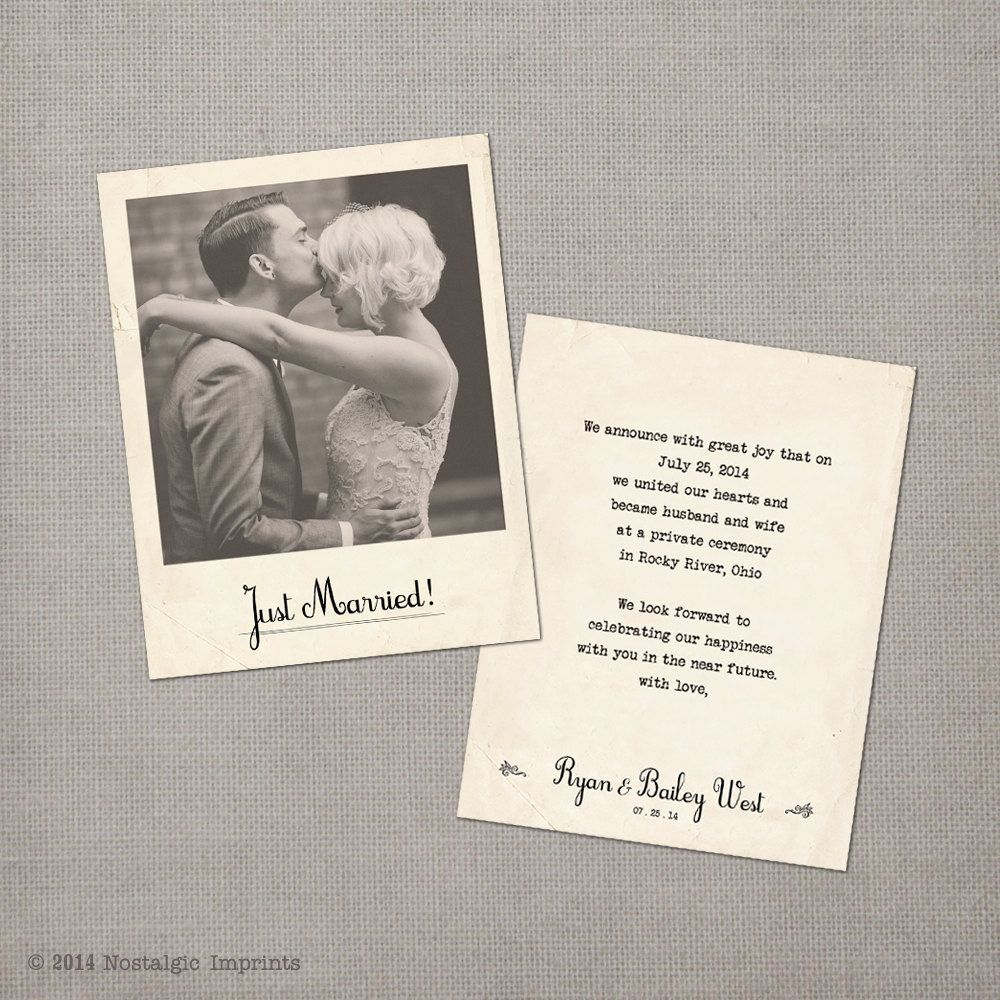 Wedding Elopement Ideas: Vintage Wedding Announcement Cards The By